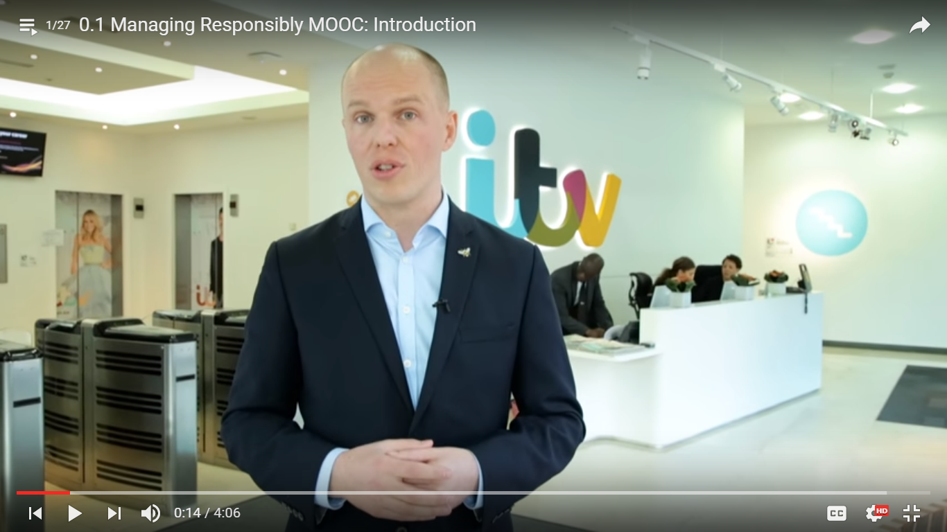 Oliver Laasch Introducing the MOOC at the ITV Headquarters in London.