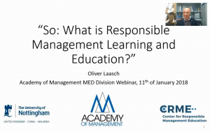 Webinar Responsible Management Learning and Education (RMLE)