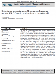 Responsible Management Responsible Management Learning Responsible Management Education Communities of Practice Theories of Practice Social Practices